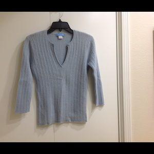 White + Warren Blue Cashmere Sweater